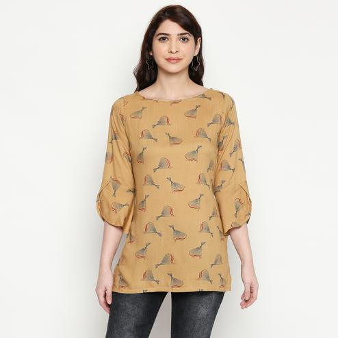 Flattering Beige Colored Casual Wear Printed Cotton Western Top