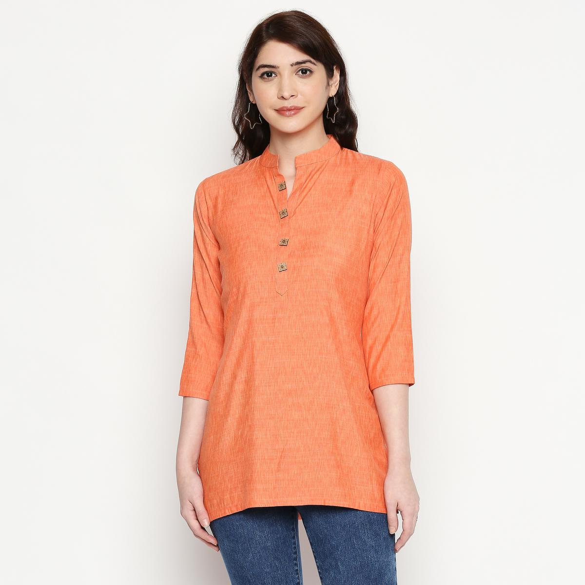 Excellent Orange Colored Casual Wear Solid Cotton Western Top