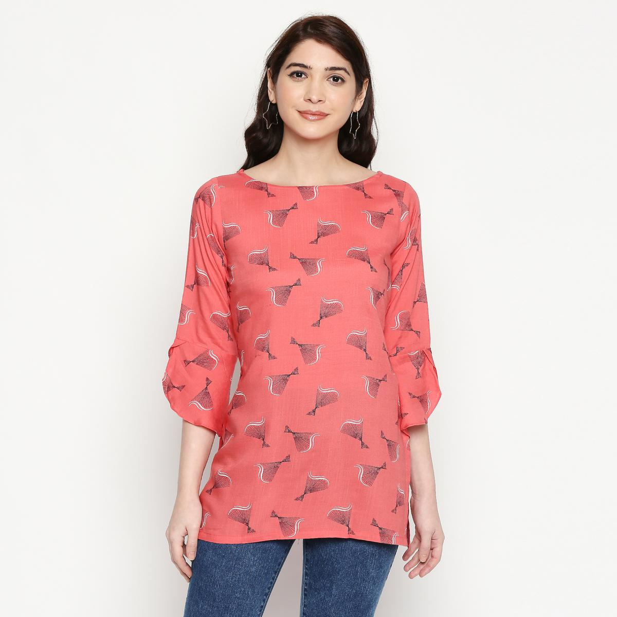 Pretty Coral Red Colored Casual Wear Printed Cotton Western Top