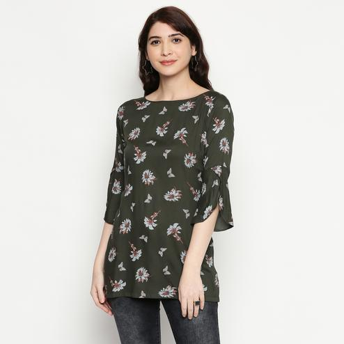 Alluring Dark Grey Colored Casual Wear Printed Cotton Western Top