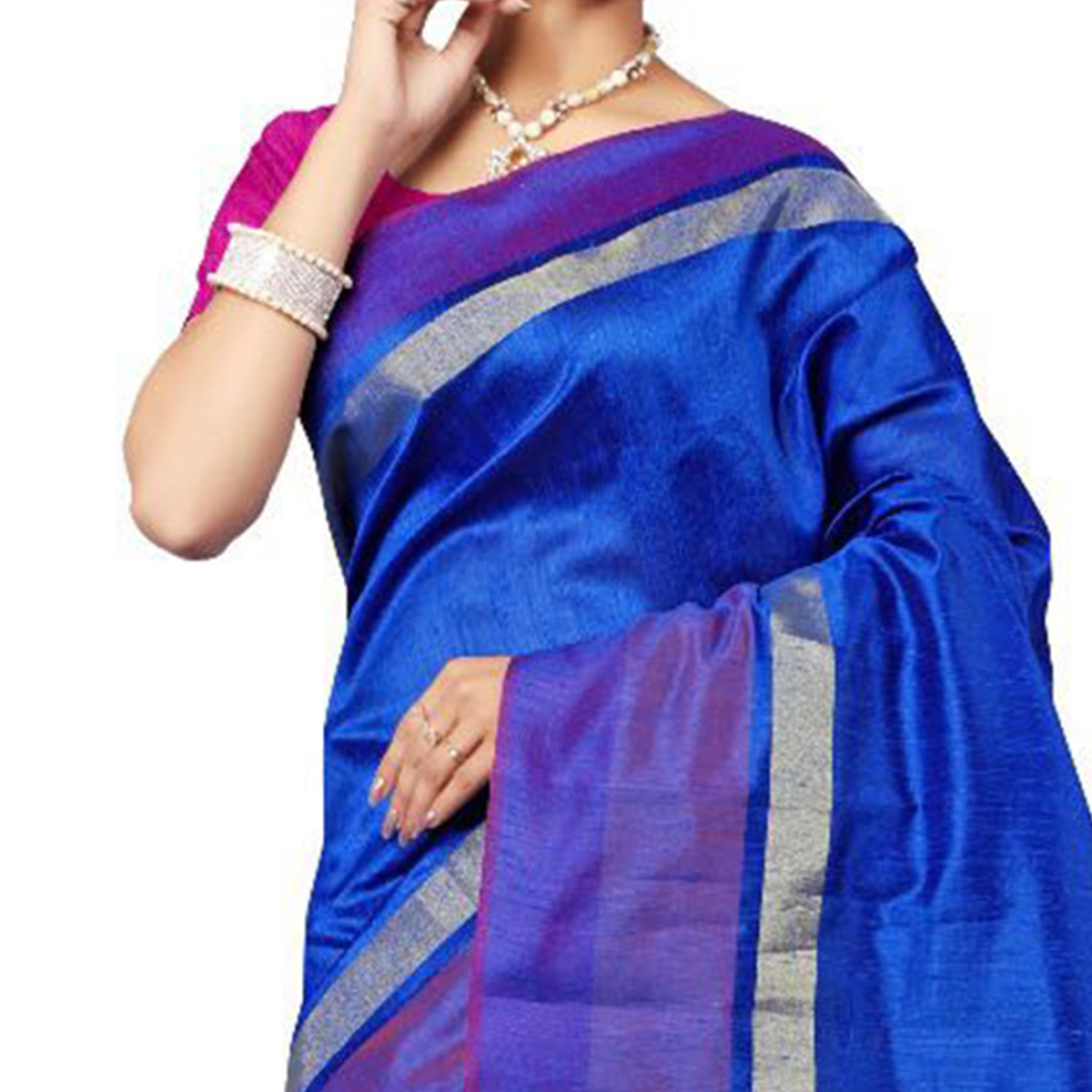 Beautiful Royal Blue Festive Wear Cotton Saree