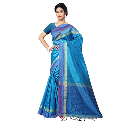 Charming Blue Festive Wear Cotton Saree
