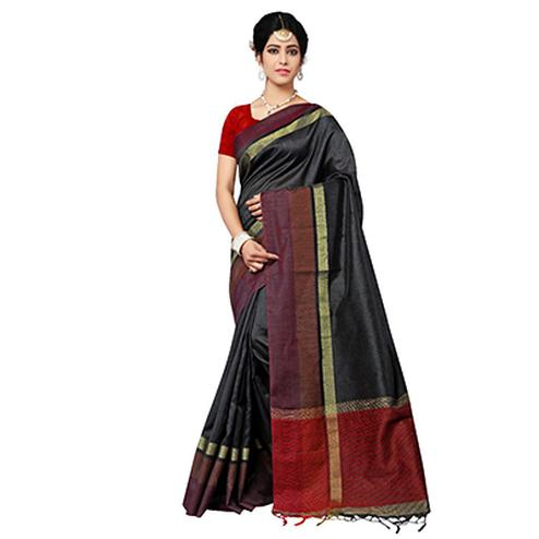 Stunning Black Festive Wear Cotton Saree