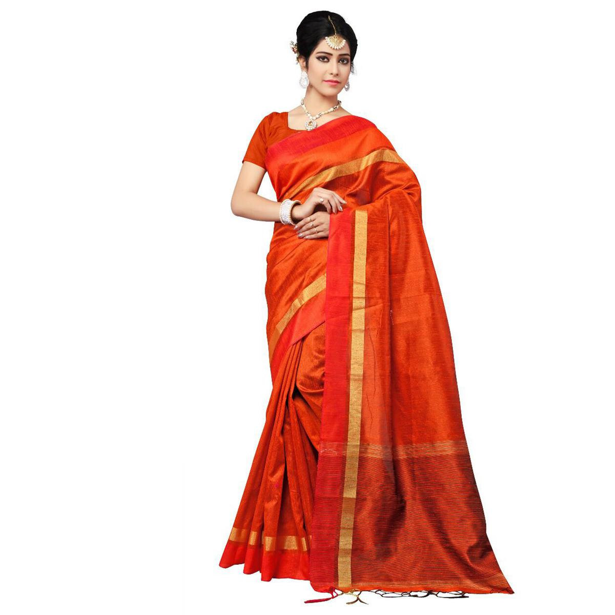 Adorable Orange Festive Wear Cotton Saree