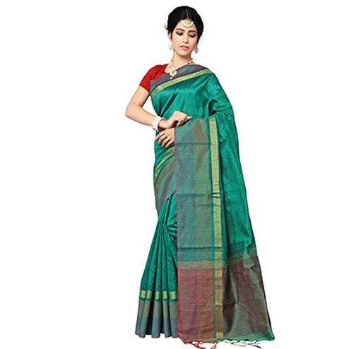 Graceful Green Festive Wear Cotton Saree