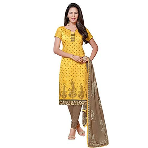 Yellow Printed Chanderi Dress Material