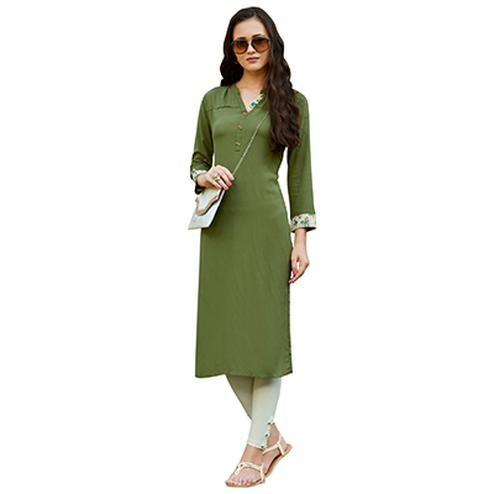 Green Cotton & Georgette Designer Kurti