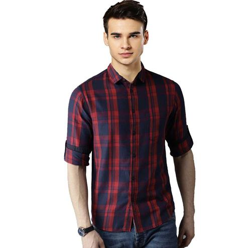 Attractive Red Colored Casual Wear Stripe Printed Pure Cotton Shirt