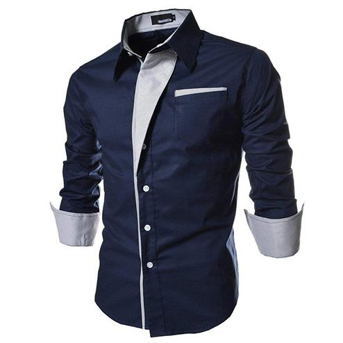 Charming Navy Blue Colored Casual Wear Pure Cotton Shirt