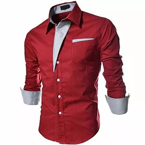 Delightful Red Colored Casual Wear Pure Cotton Shirt