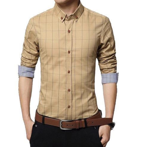 Captivating Cream Colored Casual Wear Stripe Printed Pure Cotton Shirt
