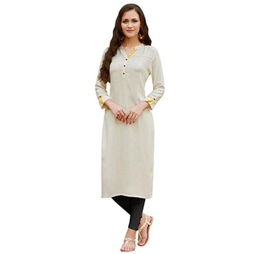 Off White Cotton & Georgette Designer Kurti