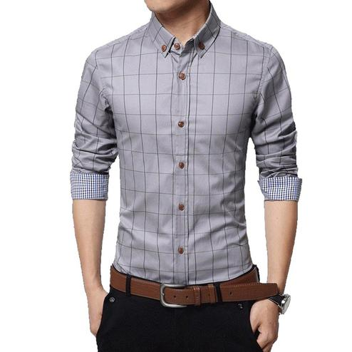 Innovative Grey Colored Casual Wear Stripe Printed Pure Cotton Shirt