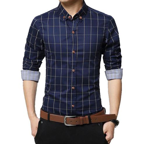 Eye-catching Navy Blue Colored Casual Wear Stripe Printed Pure Cotton Shirt