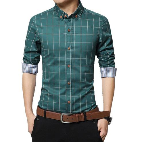 Fantastic Green Colored Casual Wear Stripe Printed Pure Cotton Shirt