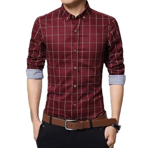 Amazing Red Colored Casual Wear Stripe Printed Pure Cotton Shirt