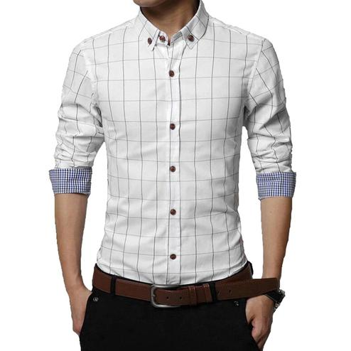 Blissful White Colored Casual Wear Stripe Printed Pure Cotton Shirt