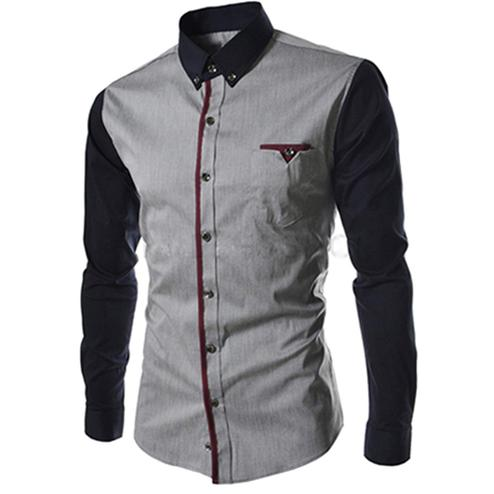 Imposing Grey Colored Casual Wear Pure Cotton Shirt