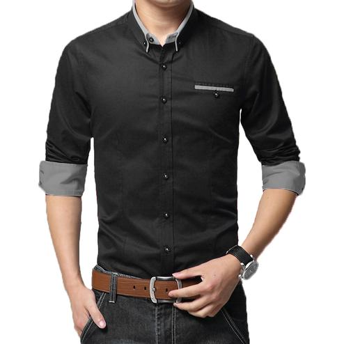 Lovely Black Colored Casual Wear Pure Cotton Shirt