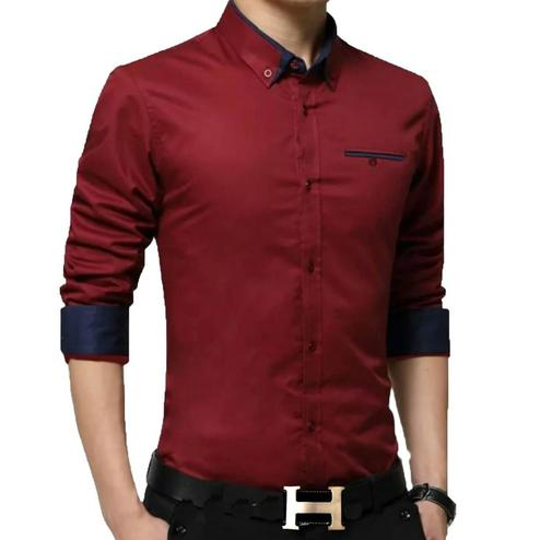 Ethnic Red Colored Casual Wear Pure Cotton Shirt