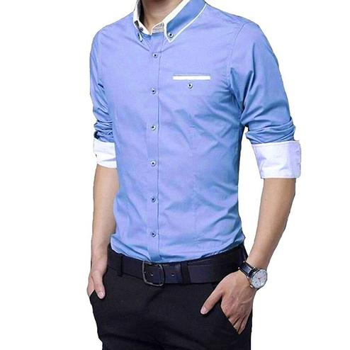 Ravishing Sky Blue Colored Casual Wear Pure Cotton Shirt
