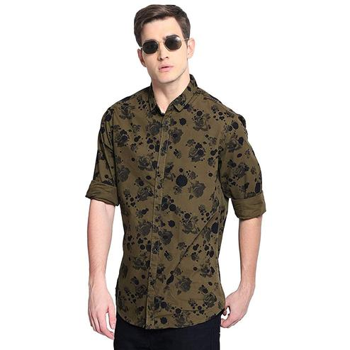 Dazzling Brown Colored Casual Wear Floral Printed Pure Cotton Shirt