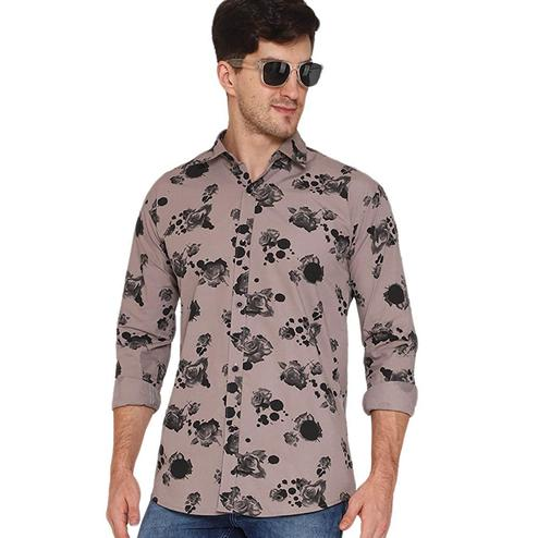 Surpassing Grey Colored Casual Wear Floral Printed Pure Cotton Shirt