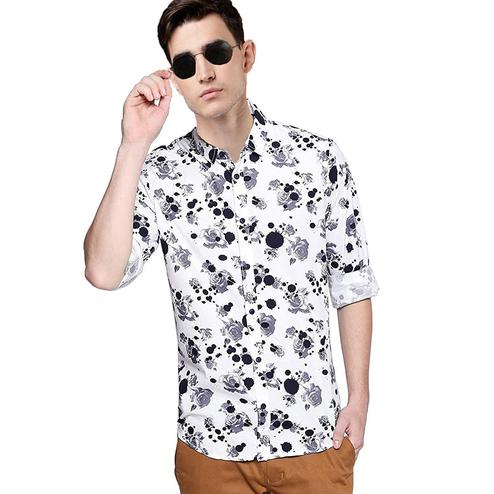Intricate White Colored Casual Wear Floral Printed Pure Cotton Shirt