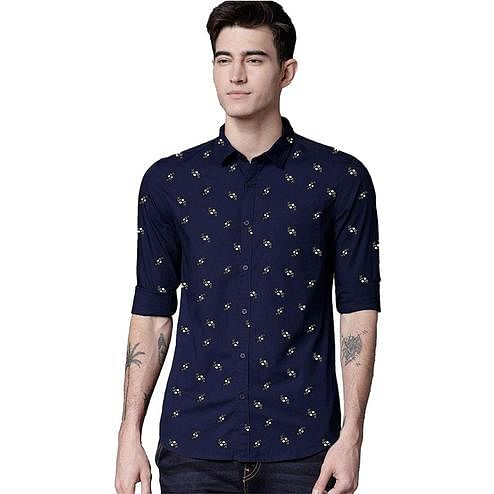 Sophisticated Navy Blue Colored Casual Wear Printed Pure Cotton Shirt
