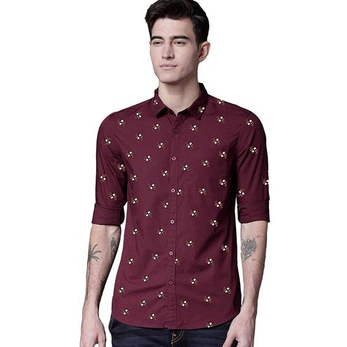 Trendy Red Colored Casual Wear Printed Pure Cotton Shirt