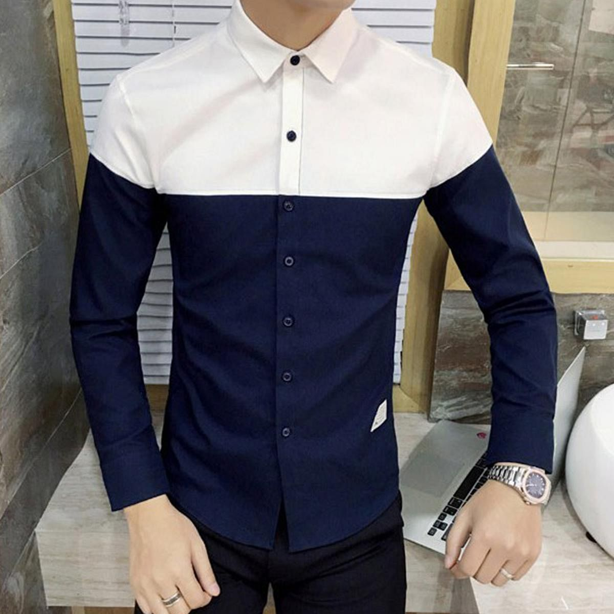 Elegant Navy Blue Colored Casual Wear Pure Cotton Shirt