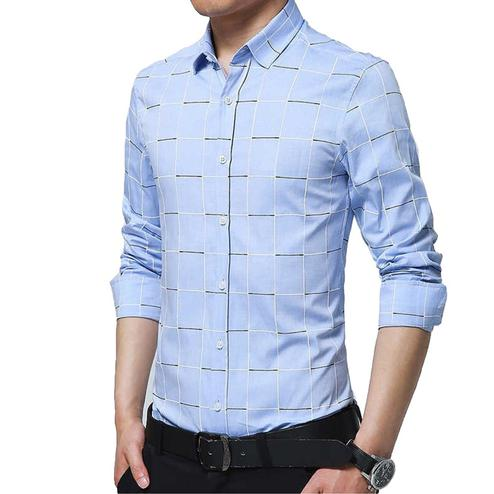 Exceptional Sky Blue Colored Casual Wear Geometric Printed Pure Cotton Shirt