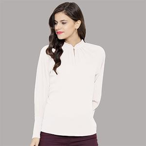 Stylish White Casual Wear Rayon Top