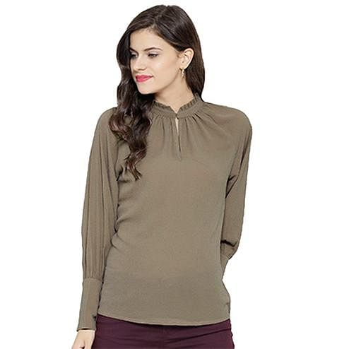 Solid Khaki Casual Wear Rayon Top