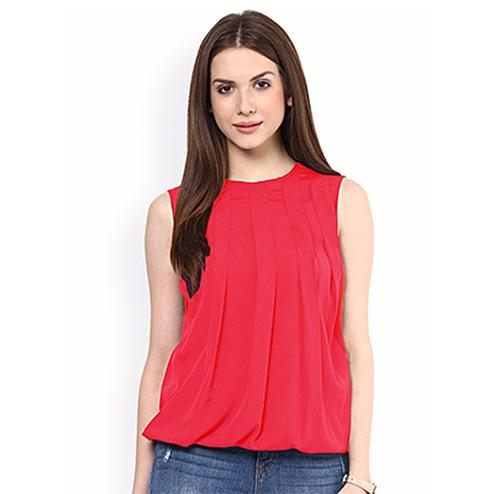 Trendy Peach Casual Wear Pure Georgette Top