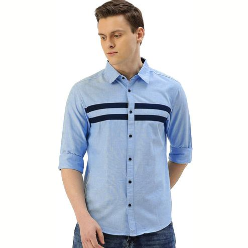 Gorgeous Sky Blue Colored Casual Wear Pure Cotton Shirt