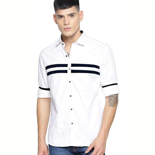 Blissful White Colored Casual Wear Pure Cotton Shirt