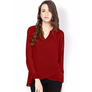 Cool Maroon V-Neck Casual Wear Pure Georgette Top