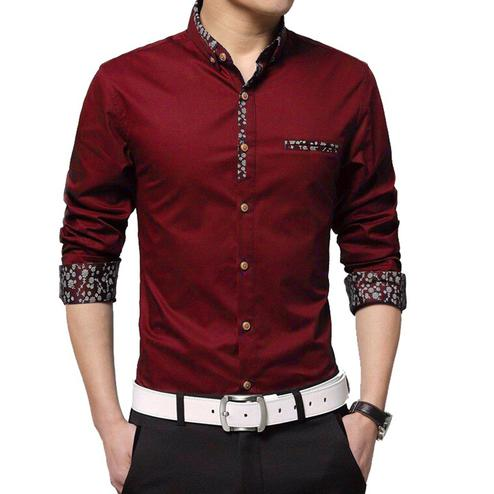 Pleasance Red Colored Casual Wear Pure Cotton Shirt