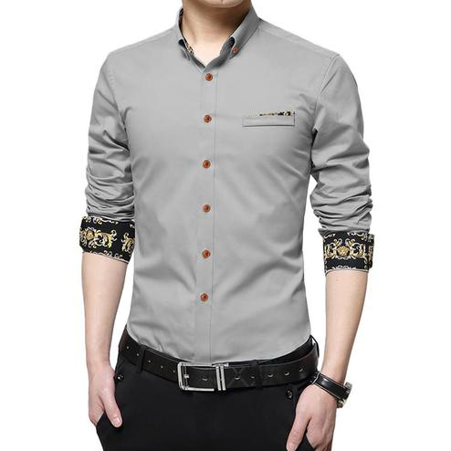 Ravishing Grey Colored Casual Wear Pure Cotton Shirt