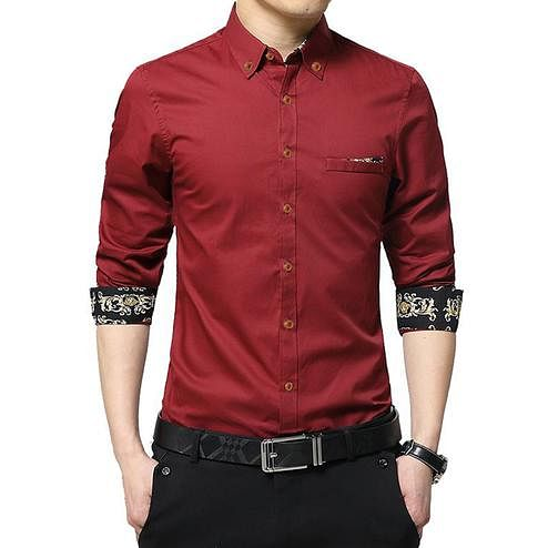 Dazzling Red Colored Casual Wear Pure Cotton Shirt