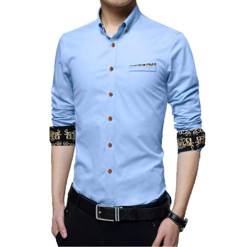 Surpassing Sky Blue Colored Casual Wear Pure Cotton Shirt