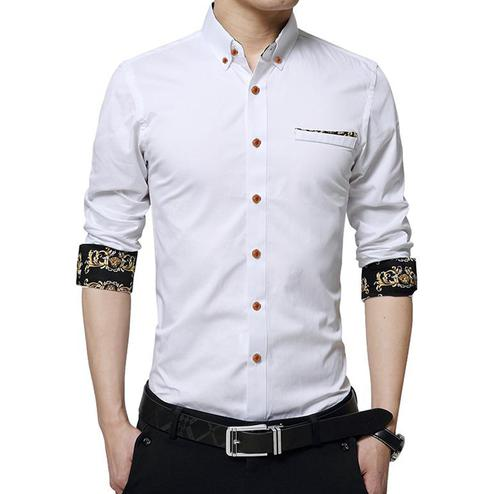Intricate White Colored Casual Wear Pure Cotton Shirt