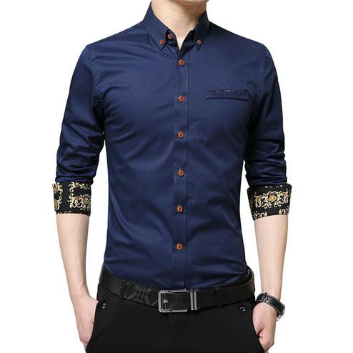 Arresting Navy Blue Colored Casual Wear Pure Cotton Shirt