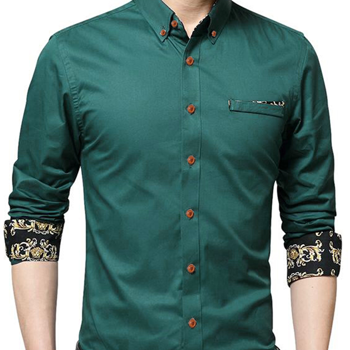 Desirable Green Colored Casual Wear Pure Cotton Shirt