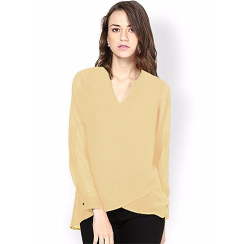 Smart Cream V-Neck Casual Wear Pure Georgette Top