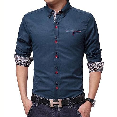 Exotic Navy Blue Colored Casual Wear Pure Cotton Shirt