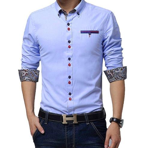 Trendy Sky Blue Colored Casual Wear Pure Cotton Shirt