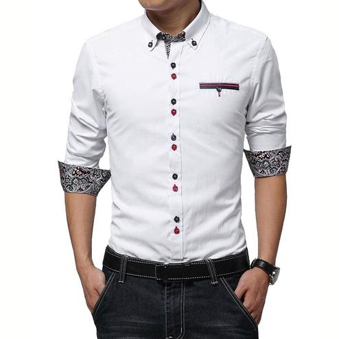 Elegant White Colored Casual Wear Pure Cotton Shirt