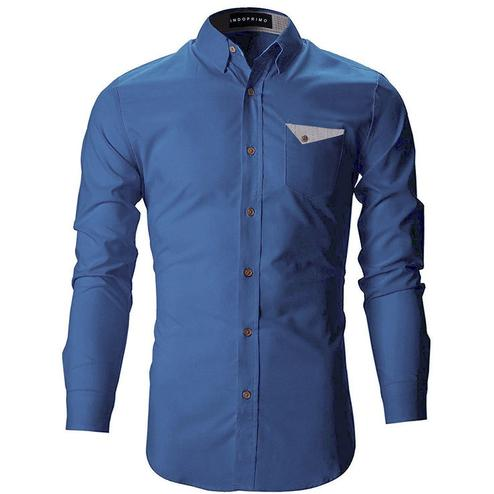 Radiant Navy Blue Colored Casual Wear Pure Cotton Shirt